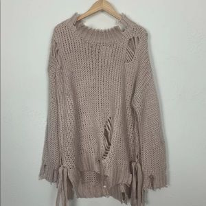 NEW Hot and Delicious Distressed Oversized Sweater